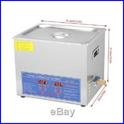 10 L Liter Ultrasonic Cleaner Stainless Steel Industry Heated Heater withTimer US
