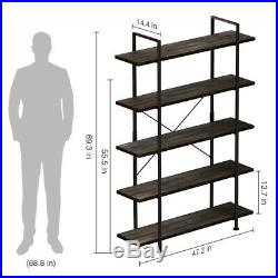 5-Tier Industrial Bookcase Rustic Bookshelf Storage Organizer for Home & Office