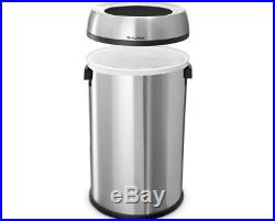 Alpine Industries 17 Gallon Open-Top Stainless Steel Trash Can Kitchen Office