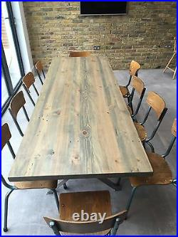 Kew Stainless Wooden Steel Industrial Style Dining Table X Shaped Legs Rustic
