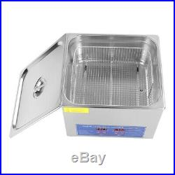 Stainless Steel 15 L Industry Heated Ultrasonic Cleaner Heater with Timer 400W