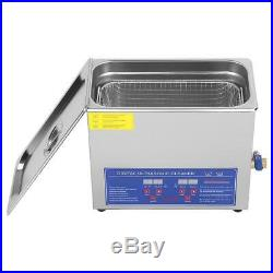 Stainless Steel 6L Liter Industry Heated Ultrasonic Cleaner Heater withTimer USA