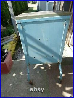 Vintage Medical Dental Steel Cabinet Industrial Look Stainless Top Small Size